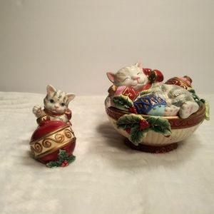 Fitz and Floyd Christmas Kitten Set
